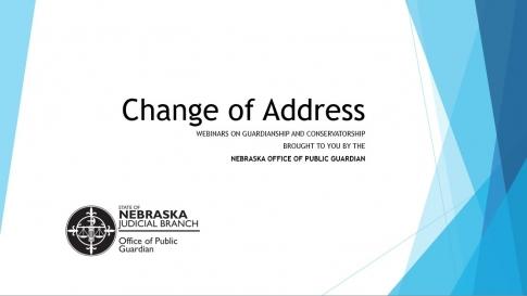 First slide of Change of Address webinar