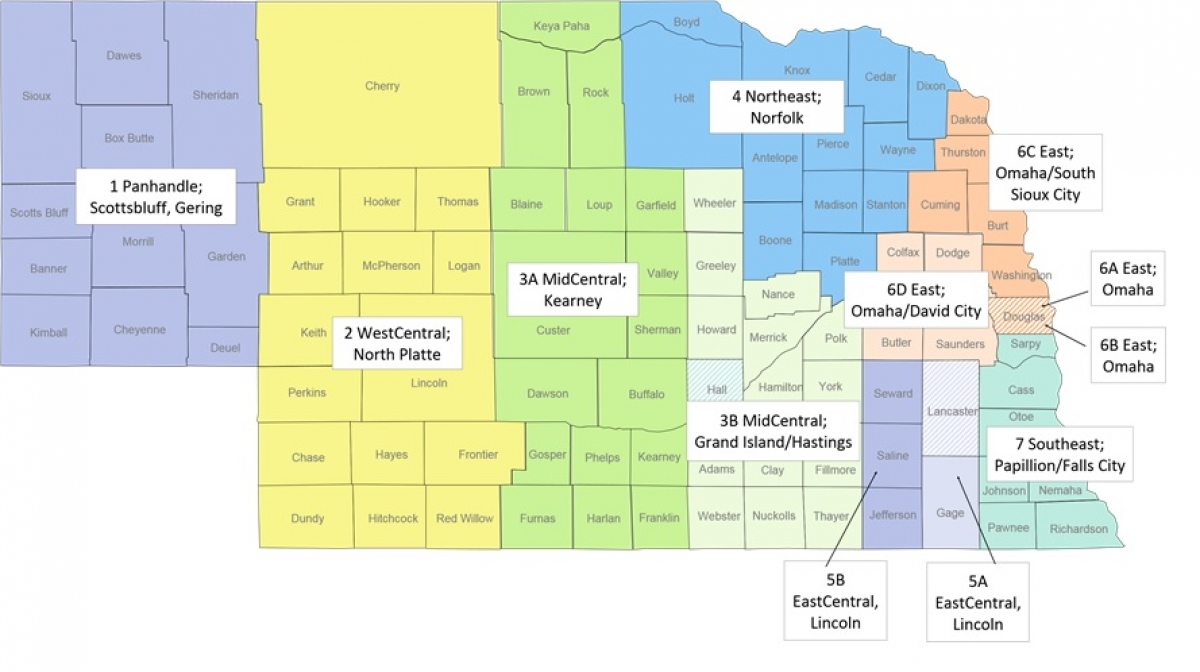 map of Nebraska with Office of Public Guardian Service areas