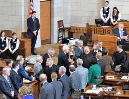 Chief Heavican greeting legislators
