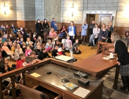 Students tour the Supreme Court courtroom