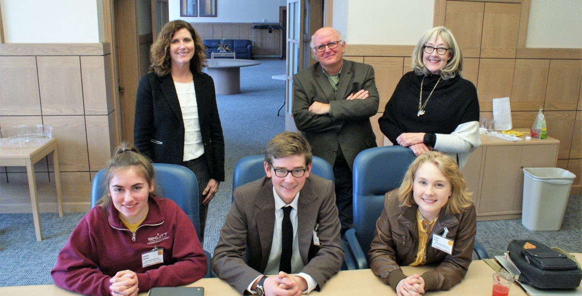 Photo: Writing advisors (back): Nebraska Court of Appeals Judge Francie Riedmann; Bill Kelly, Senior Producer NET News; Rose Ann Shannon, retired News Director KETV Student reporters (front): Madeline Mollner, Scutt Catholic; Ethan Graff, McCook; Taegan Jacobs, Bellevue West.