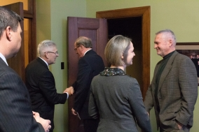 Chief Justice Heavican and Justice Stacy greet senators