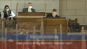 Heavican at podium