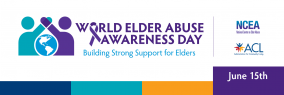 """""""World Elder Abuse Awareness Day"""" banner with blue, green, orange, and purple color blocks"""